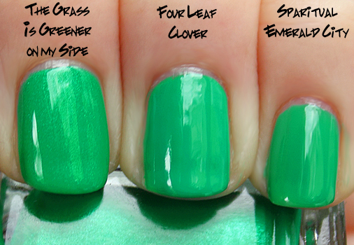 china glaze four leaf clover misa sparitual emerald China Glaze Up & Away Swatches, Review and Comparisons   Part 2