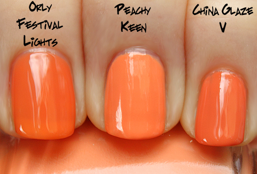 china glaze peachy keen orly festival lights v China Glaze Up & Away Swatches, Review and Comparisons   Part 2