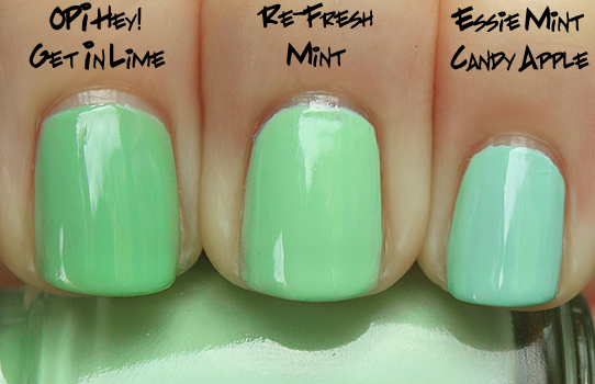 china glaze re fresh mint opi lime essie mint China Glaze Up & Away Swatches, Review and Comparisons   Part 2