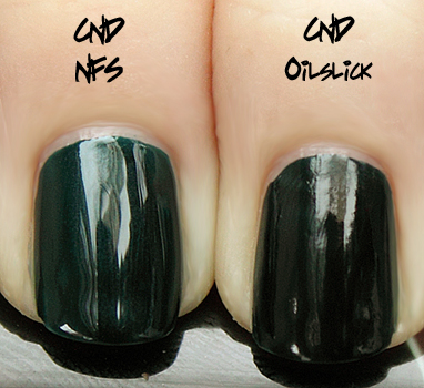 cnd oilslick nfs comparison CND Monday   Oilslick and Raisin In The Sun Layering
