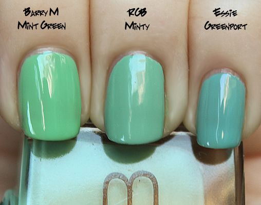 rgb minty barry m mint green essie greenport RGB Minty for Holiday 09 Swatches & Review