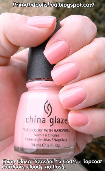 china glaze seashell nail polish used for a mannequin hands manicure