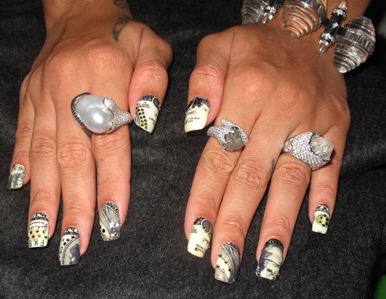 Rihanna Nails Grammys Money Minx Kimmie Kyees Rihanna Is So Money   Getting Minxd for the Grammys