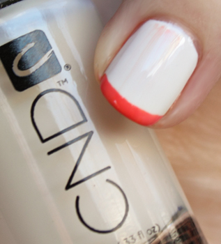 cnd brilliant white electric orange buff CND Monday   Layering at Diego Binetti