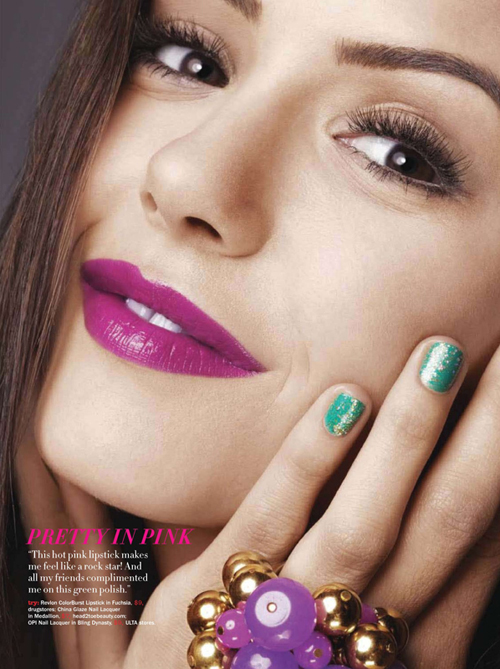 Nina-Dobrev-April-2010-Seventeen-Magazine-green-glitter-nails