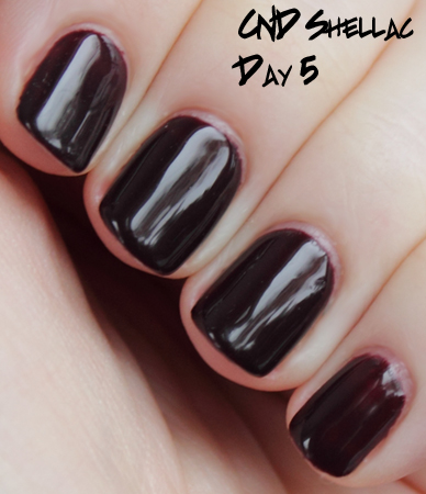 cnd shellac wear test day 5 Introducing CND Shellac Hybrid Nail Color