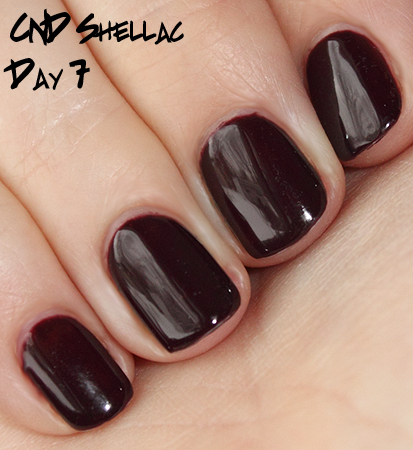 cnd shellac wear test day 7 Introducing CND Shellac Hybrid Nail Color