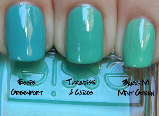 essie turquoise caicos comparison essie greenport barry m mint green