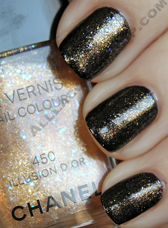 chanel illusion d'or layered over black velvet swatch from the paris-shanghai collection