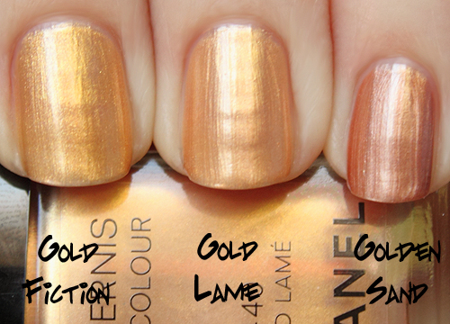 chanel gold lamé comparison with chanel gold fiction and chanel golden-sand