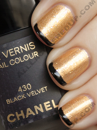 chanel black tipped manicure with gold lamé, illusion d'or and black velvet