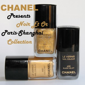 chanel noir et or paris shanghai collection le vernis bottles 300x298 Chanel Gold Lamé, Illusion Dor & Black Velvet Swatches, Review and Comparisons