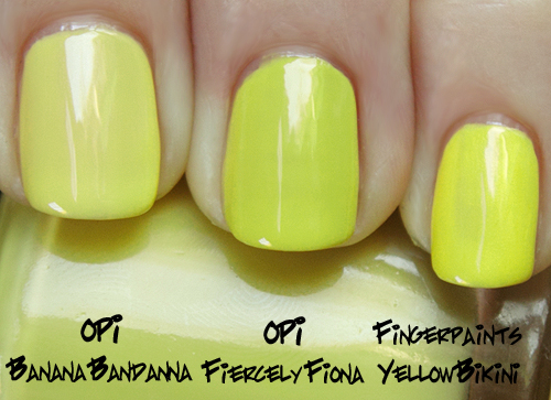 opi fiercely fiona comparison from the shrek forever after brights 2010 collection