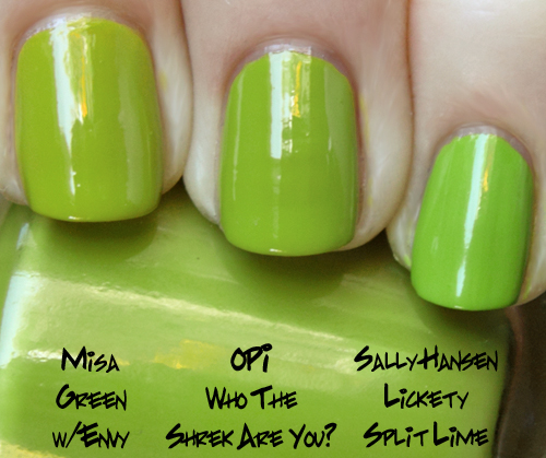 opi who the shrek are you? comparison swatches from the shrek forever after brights 2010 collection