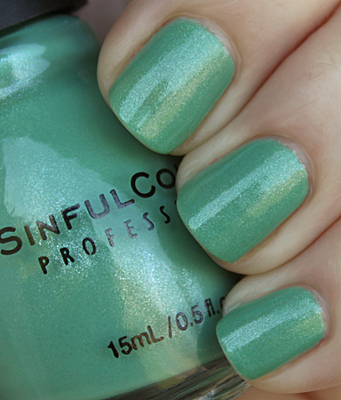 sinful mint apple swatch, green nail polish for earth day