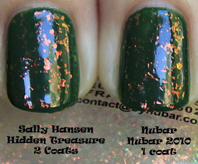 nubar 2010 sally hansen hidden treasure comparison Nubar 2010 10th Anniversary Color Swatches, Review and Comparison