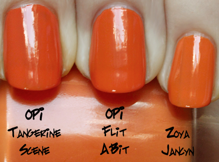 opi flit a bit comparison with opi tangerine scene and zoya jancyn