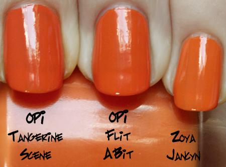 opi flit a bit comparison with opi tangerine scene and zoya jancyn