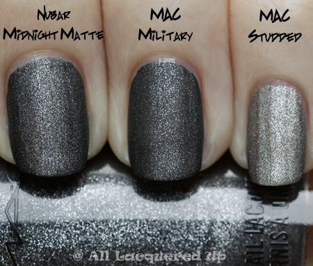 mac military comparison nubar midnight mac studded MAC Alice + Olivia Collection Nail Lacquer Swatches & Review