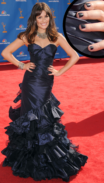 Lea Michele at the 62nd Annual Emmy Awards 2010 wearing blue nail polish