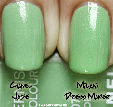 chanel jade milani dress maker comparison swatch 1 Chanel Jade & Paradoxal Dupe Smackdown