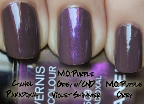 chanel paradoxal models own purple grey cnd violet shimmer Chanel Jade & Paradoxal Dupe Smackdown