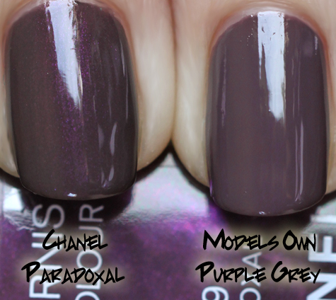 chanel paradoxal models own purple grey swatch comparison Chanel Jade & Paradoxal Dupe Smackdown