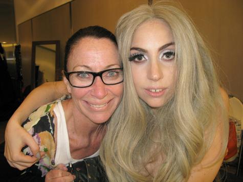 deborah lippmann with lady gaga behind the scenes of her vanity fair september 2010 cover wearing gray nail polish