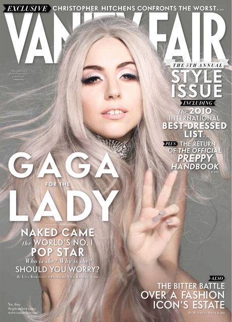 lady gaga wearing gray nails on vanity fair's september 2010 issue