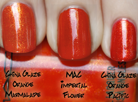 mac imperial flower comparison swatch MAC Nail Trend F/W 10 Comparisons