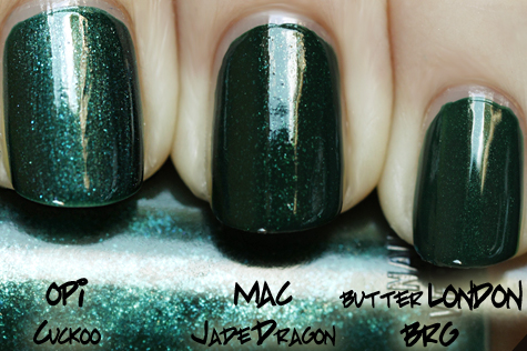 mac jade dragon comparison swatch cuckoo green MAC Nail Trend F/W 10 Comparisons