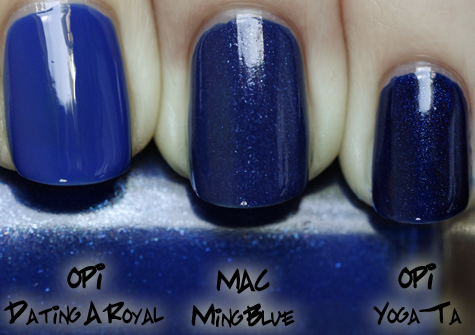 mac ming blue swatch comparison opi royal yoga ta MAC Nail Trend F/W 10 Comparisons
