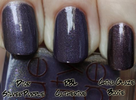 rbl catherine compared with china glaze bogie and dior silver purple