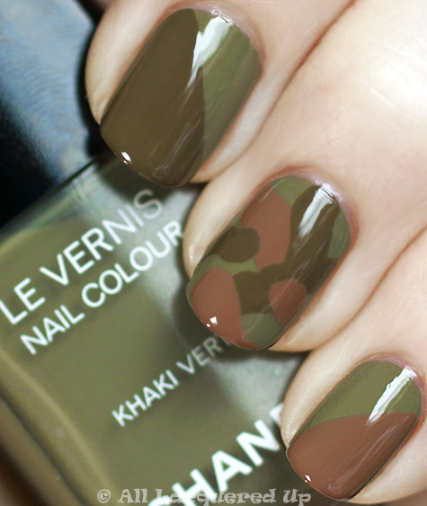 chanel khaki brun, khaki rose and khaki vert camouflage manicure from the khakis de chanel collection