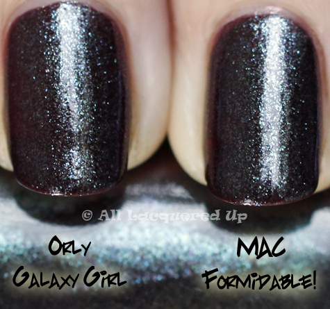 mac formidable orly galaxy girl comparison swatch MAC Venomous Villains Bad Fairy, Formidable and Mean & Green Swatches, Review & Comparisons
