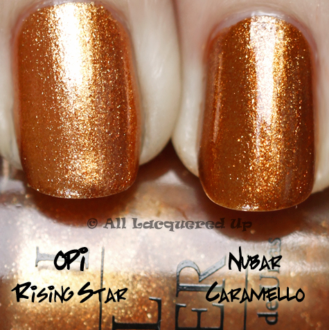opi rising star comparison swatch nubar caramello OPI Burlesque Collection for Holiday 2010 Swatches, Review & Comparisons