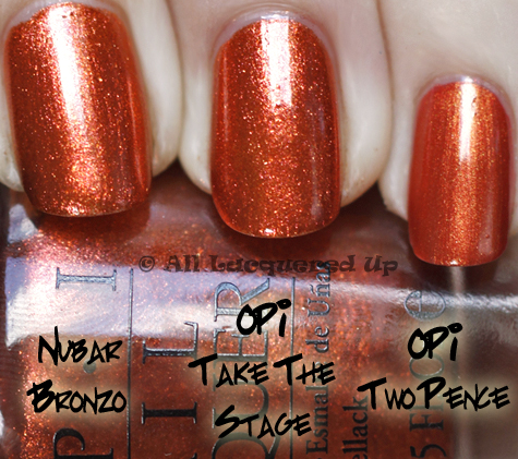 opi take the stage comparison swatch nubar two pence OPI Burlesque Collection for Holiday 2010 Swatches, Review & Comparisons