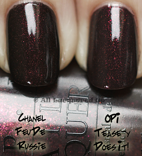 opi teasy does it comparison swatch chanel feu de russie OPI Burlesque Collection for Holiday 2010 Swatches, Review & Comparisons