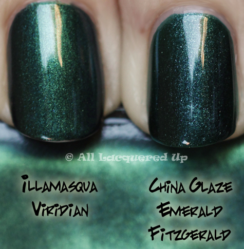 illamasqua viridian comparison swatch Illamasqua Scarab & Viridian from the Art of Darkness Collection