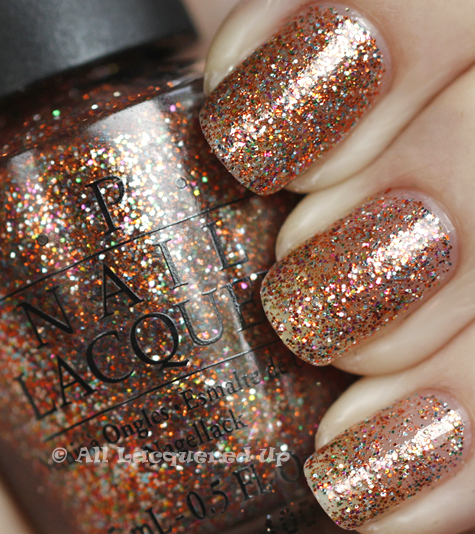 opi extra va vaganza swatch burlesque holiday 2010 glitter OPI Holiday 2010 Burlesque Collection Glitter Swatches & Review