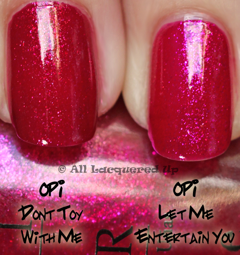 opi let me entertain you comparison swatch dont toy with me OPI Burlesque Collection for Holiday 2010 Swatches, Review & Comparisons