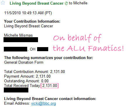 bca donation fanatics 2010 Think Pink   Donate & Win Giveaway 2010 Donation Update & Winners