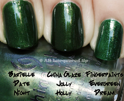 china glaze jolly holly comparison swatch China Glaze Holiday 2010   Blue & Greens Swatches, Review & Comparisons