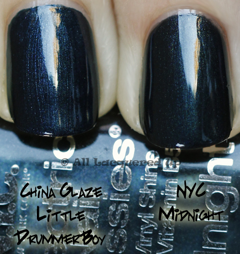 china glaze little drummer boy swatch comparison China Glaze Holiday 2010   Blue & Greens Swatches, Review & Comparisons