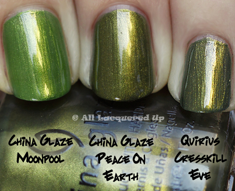 china glaze peace on earth comparison swatch moonpool China Glaze Holiday 2010   Blue & Greens Swatches, Review & Comparisons