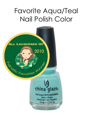 fanatic favorite aqua teal china glaze for audrey All Lacquered Up Fanatic Favorites 2010   Winners