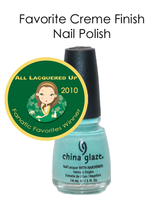 fanatic favorite creme finish china glaze for audrey All Lacquered Up Fanatic Favorites 2010   Winners