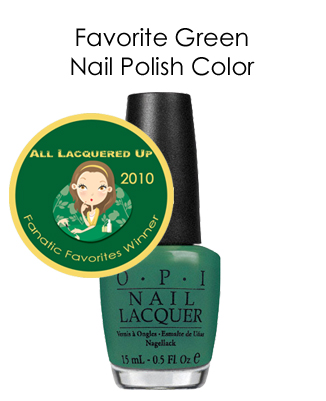 fanatic favorite green opi jade new black All Lacquered Up Fanatic Favorites 2010   Winners