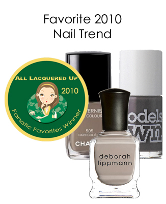 fanatic favorite nail trend edgy neutrals All Lacquered Up Fanatic Favorites 2010   Winners