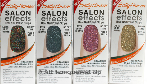 sally hansen salon effects frock star bling it on glitz blitz blue ice Sally Hansen Salon Effects Nail Polish Strips Review